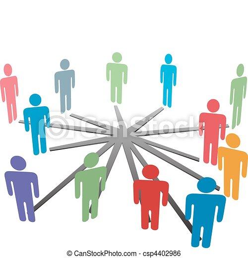 La gente se conecta con la red de medios sociales o los negocios - csp4402986