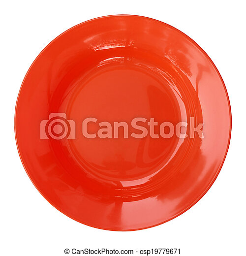 red empty plate isolated on white background - csp19779671