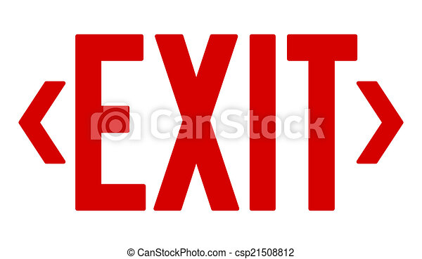 red exit sign emergency symbol and safety directions illustration rh canstockphoto com