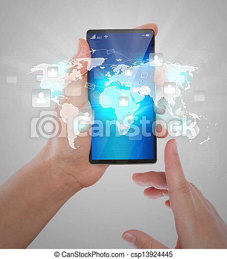 La mano sosteniendo la tecnología de comunicación moderna el teléfono móvil muestra la red social - csp13924445