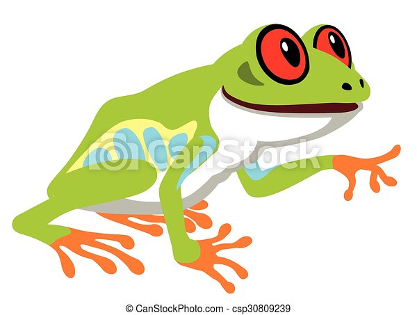 cartoon red eye tree frog side view image isolated on white rh canstockphoto com Red-Eyed Tree Frog tree frog silhouette vector