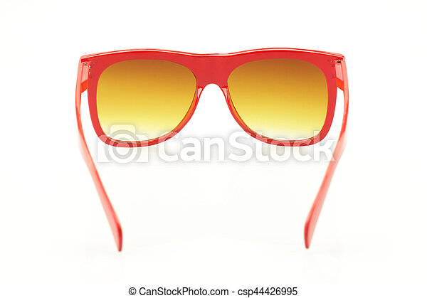 Red eyeglasses on white background - csp44426995