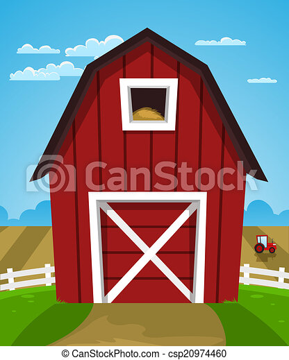 Cartoon Illustration Of Red Farm Barn With Tractor Clip Art