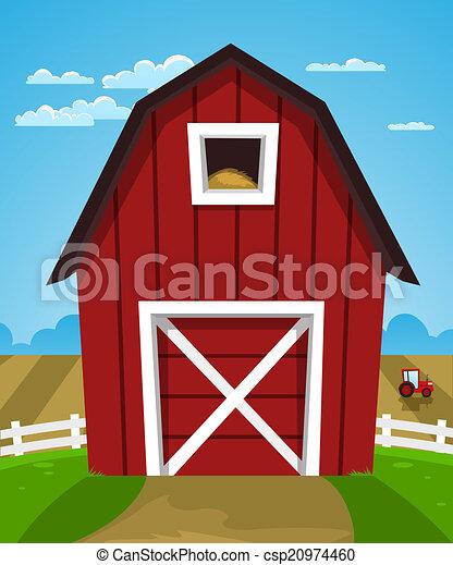 red farm barn cartoon illustration of red farm barn with tractor