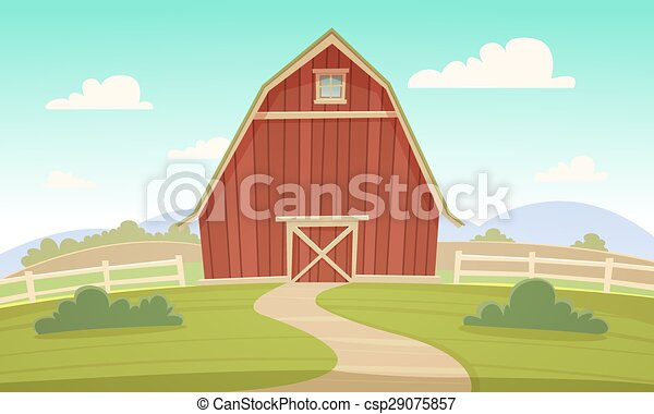 Red Farm Barn Countryside Summer Landscape With