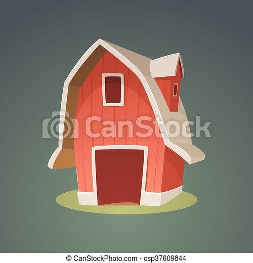 Red Farm Barn Icon - csp37609844
