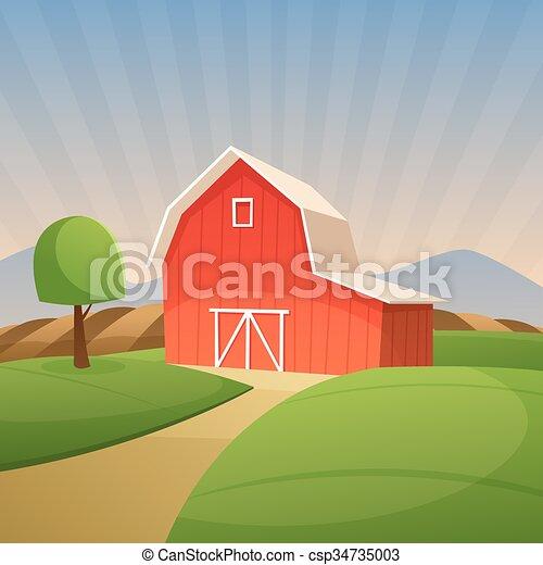 Red Farm Barn  - csp34735003