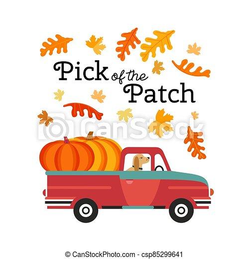 Red Farm truck with pumpkins flat color vector - csp85299641