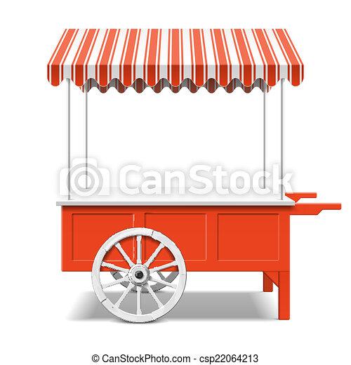 Red farmer's market cart - csp22064213