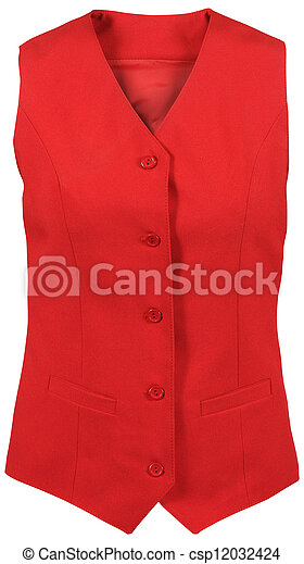 red female vest isolated on white background - csp12032424