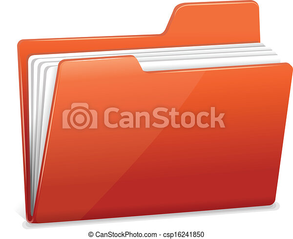 Red file folder with documents - csp16241850