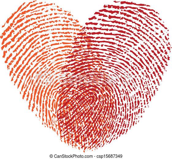 red fingerprint heart, vector - csp15687349