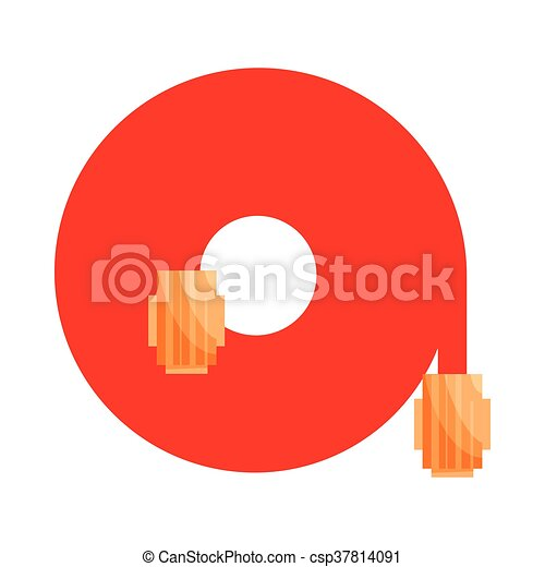 Red fire fighting hose icon in cartoon style - csp37814091