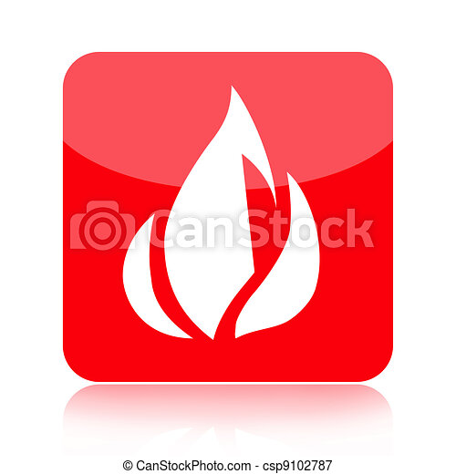 Red fire icon - csp9102787