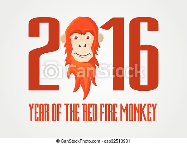 Red Fire Monkey Vector Illustration The Symbol Of 2016 Year Design