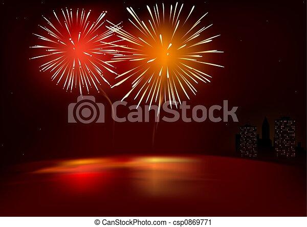 Red Fireworks - csp0869771