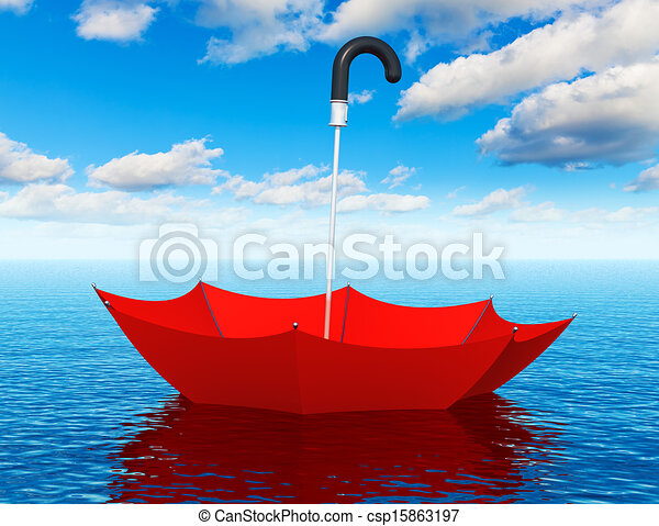 Red floating umbrella in the sea - csp15863197