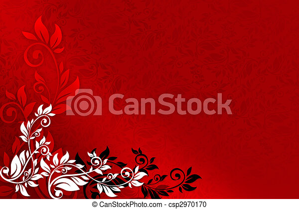 Red Floral Background With Black And White Ornaments Stock