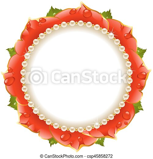 Red Floral Circle Frame - csp45858272