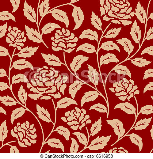 Red floral seamless pattern - csp16616958