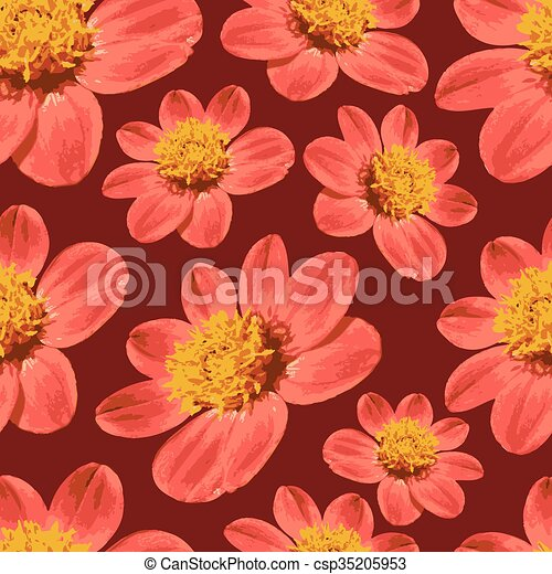 Red floral seamless pattern - csp35205953