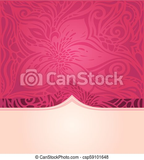 Red Floral Vector Pattern Wallpaper Mandala Background Trendy Fashion Design With Copy Space