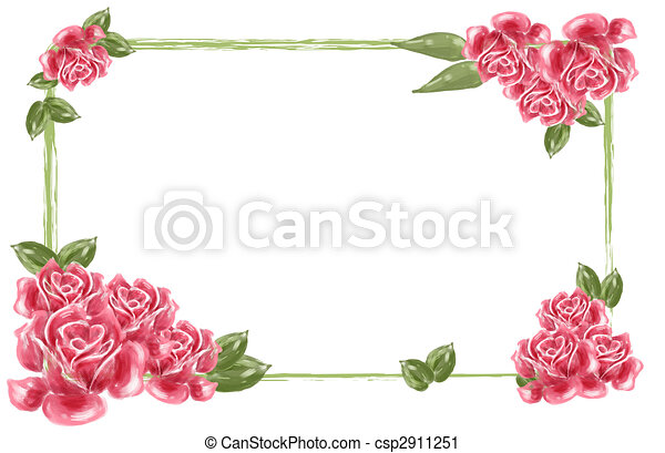 Red Flower Border Drawing Of Beautiful Red Rose And Leaves Can Used