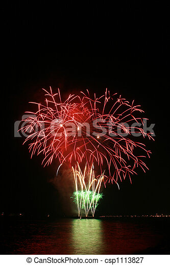 red flower bouquet fireworks - csp1113827