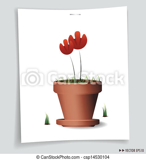 Red Flower Plant in Clay Pot. Vector illustration. - csp14530104
