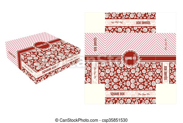 Red Flower Square Box