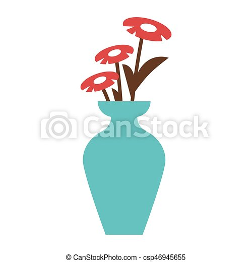 Red Flowers In Blue Vase Vector Illustration Of Three Red Flowers
