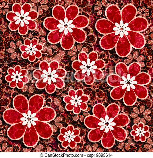 Red Flowers Scrapbook Paper Red Floral Scrapbook Graphic Paper