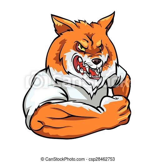 Red Fox mascot, team label design. - csp28462753