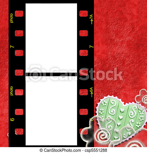Red frame for two photos of love. Two pictures instant fund for lovers .