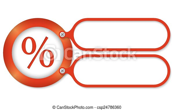 red frames and square percent symbol - csp24786360