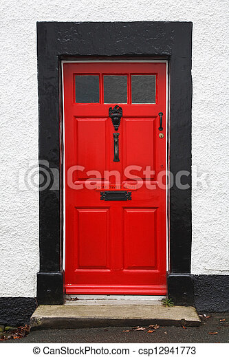 Red front door - csp12941773