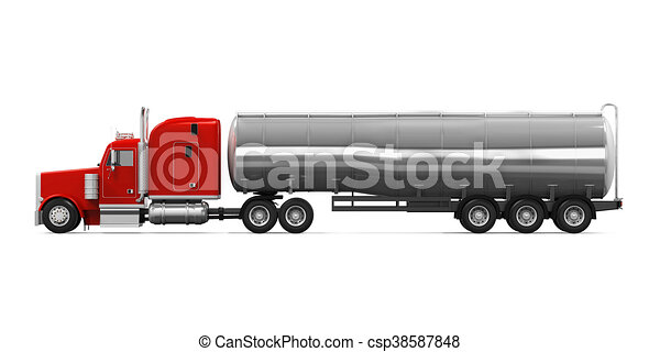red fuel tanker truck isolated on white background. 3d drawing