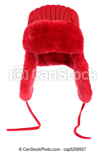 Red fur cap on a white background - csp5258937
