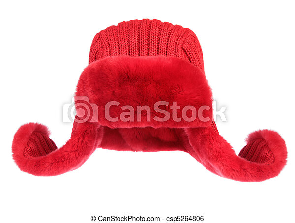 Red fur cap on a white background - csp5264806