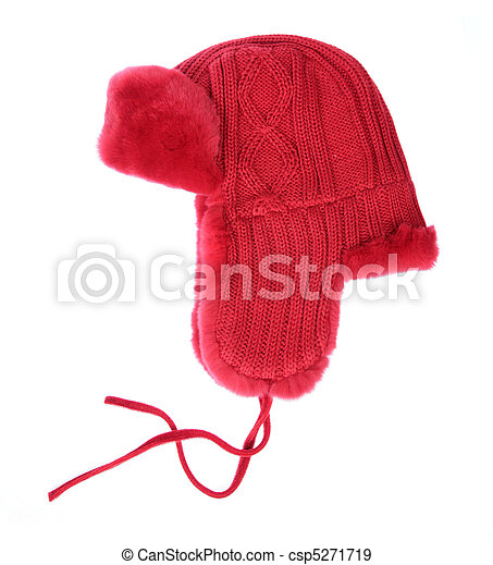 Red fur cap on a white background - csp5271719