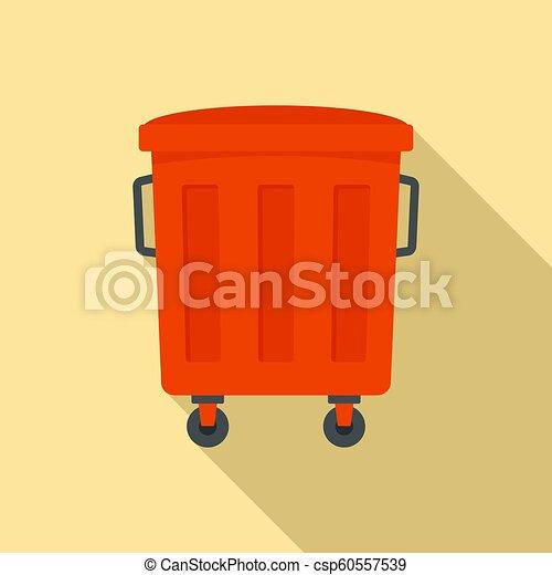 Red garbage box icon, flat style - csp60557539