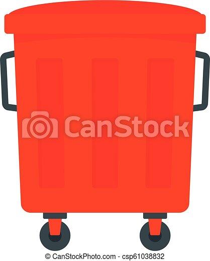 Red garbage box icon, flat style - csp61038832