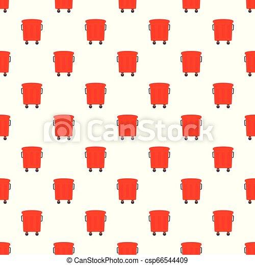 Red garbage box pattern seamless vector - csp66544409