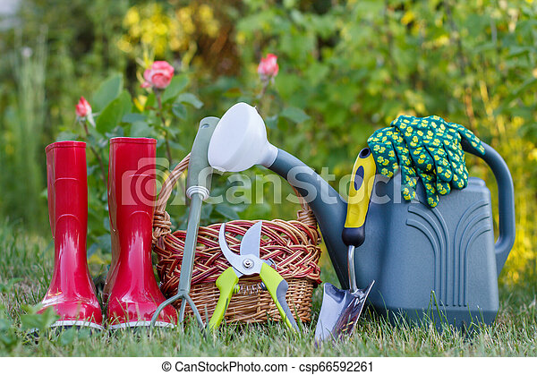 Red Garden Rubber Boots Small Rake Pruner Wicker Basket Trowel And Plastic Watering Can On Green Grass Red Garden Rubber Canstock
