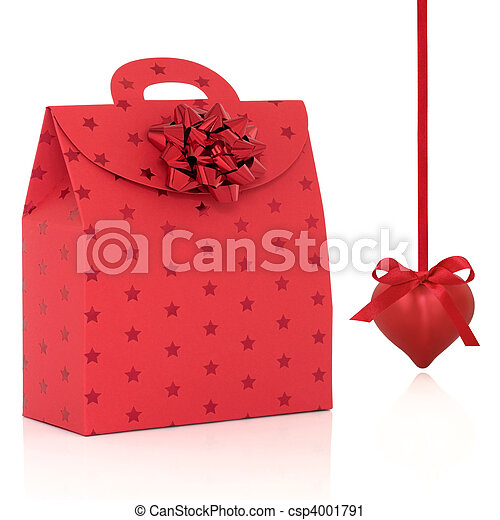 Red Gift Bag and Heart Shaped Bauble - csp4001791
