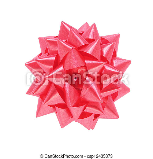 red gift bow isolated on white background - csp12435373