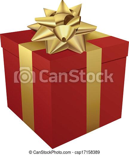Red gift box and gold ribbon - csp17158389