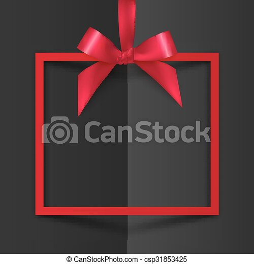 Red gift box frame with silky bow and ribbon on black folded paper background - csp31853425