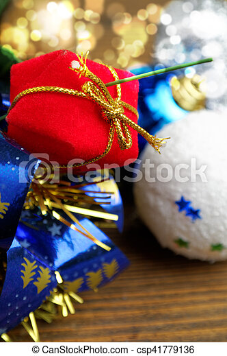 red gift box in the Christmas decoration - csp41779136