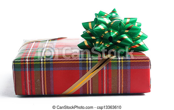 red gift box with a green bow - csp13363610
